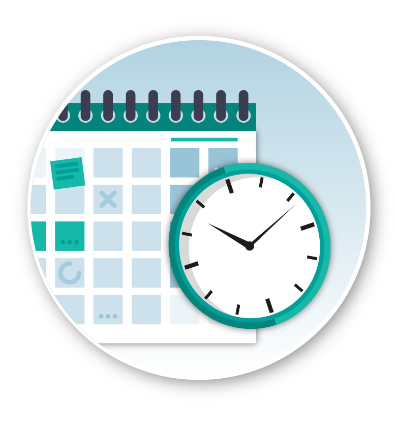 graphic of a calendar and clock